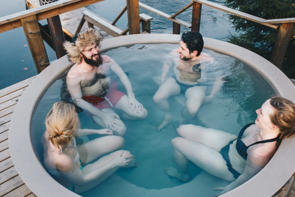 Hot tub with people