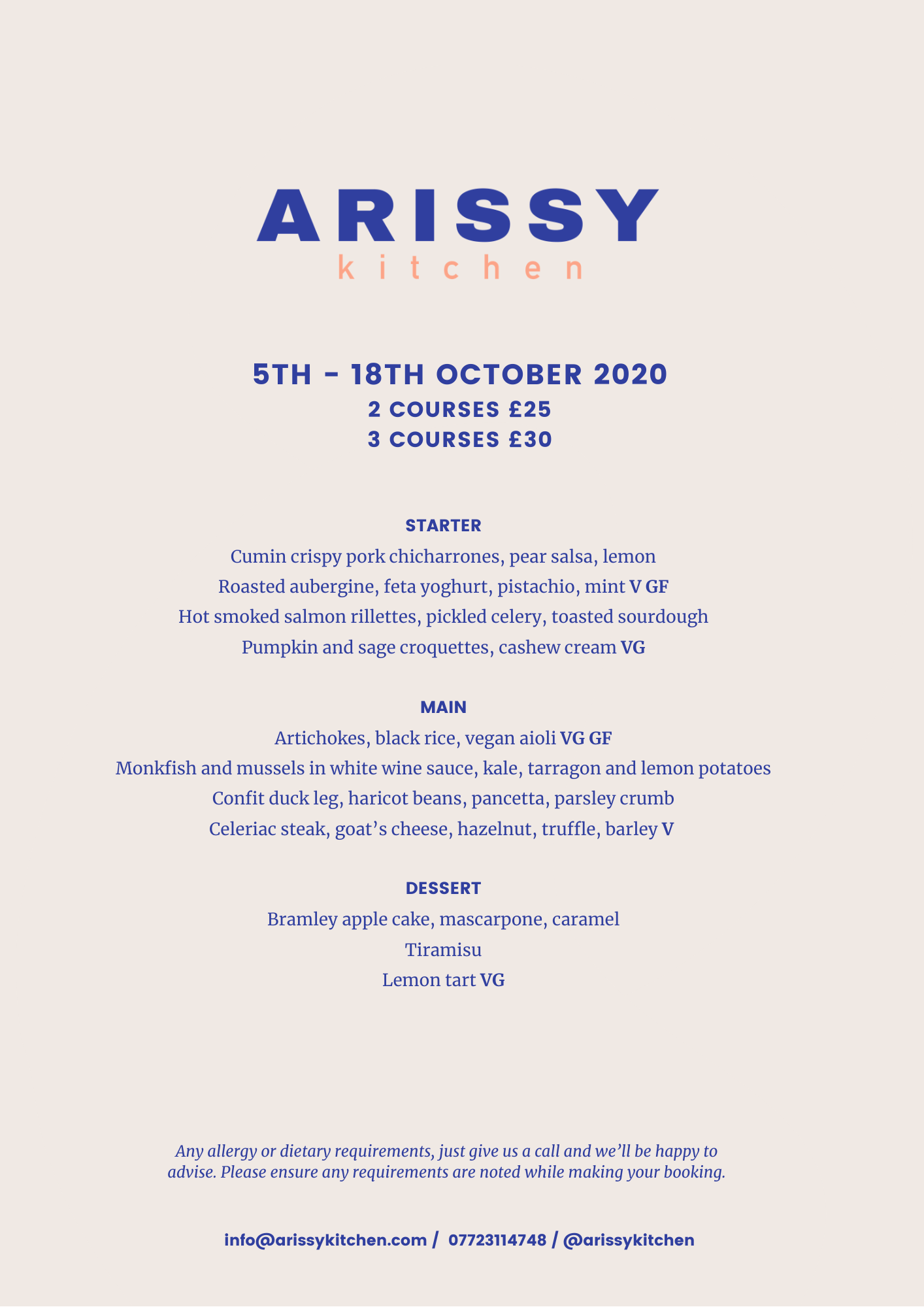 Arissy Kitchen Oct Menu