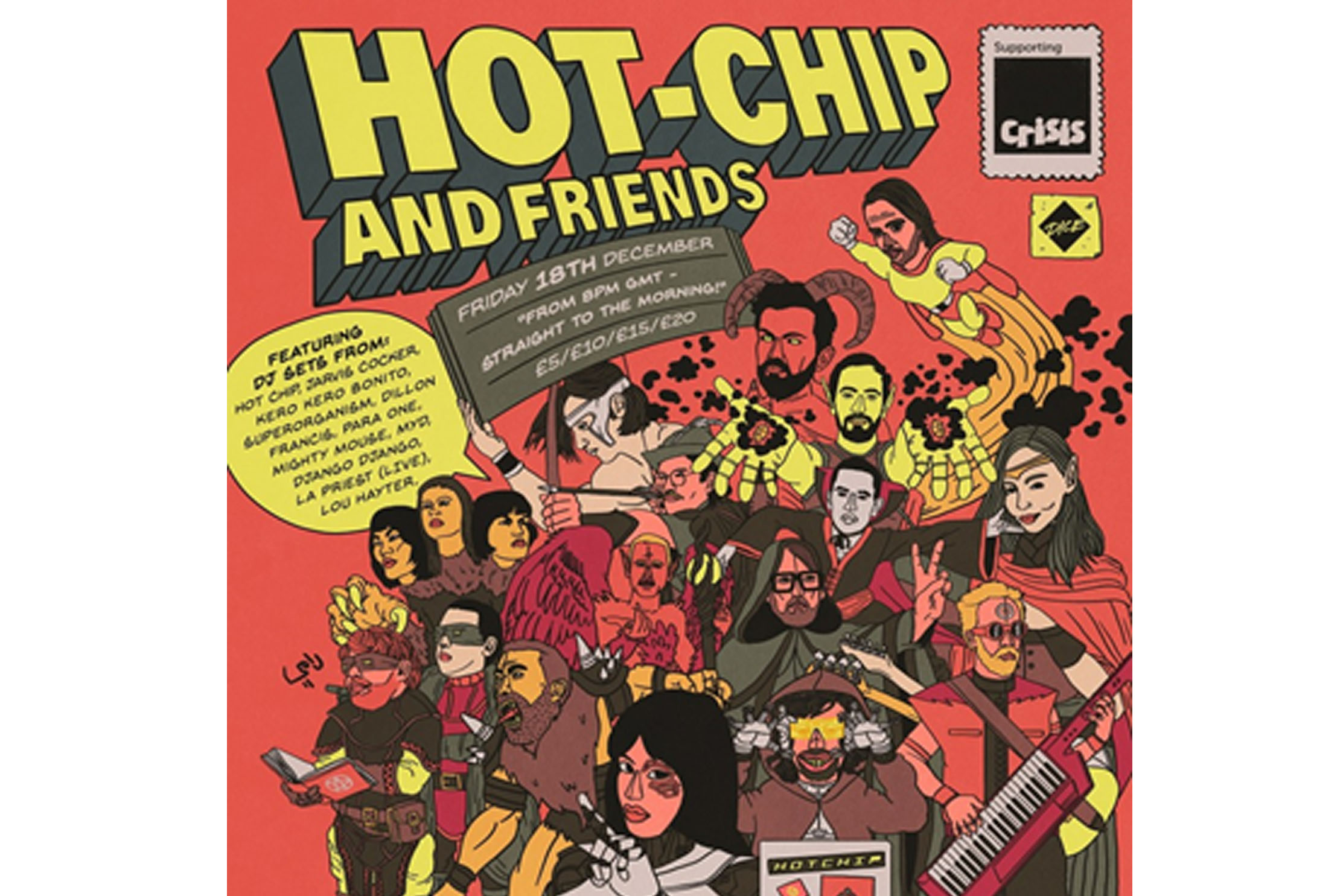 Hot Chip and Friends get together in aid of homeless charity Crisis on Fri 18 Dec
